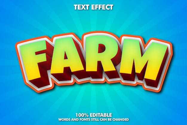 농장 스티커, 편집 가능한 3d 만화 텍스트 효과