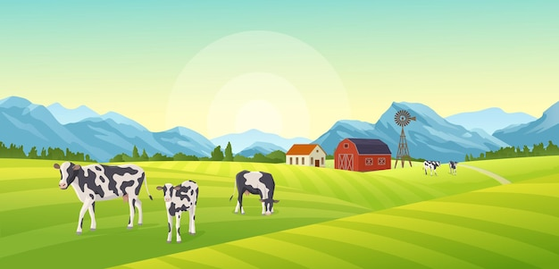 Иллюстрация летний пейзаж фермы