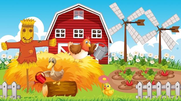 농장 동물 농장 테마 배경