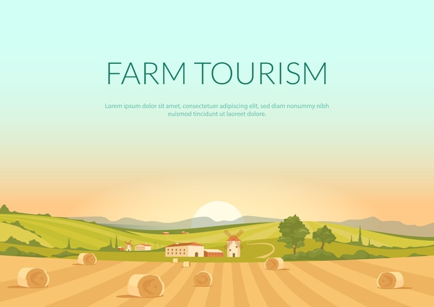 Farm tourism poster flat template