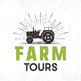 Farm tours vector logo with tractor and sunbursts. retro style. isolated