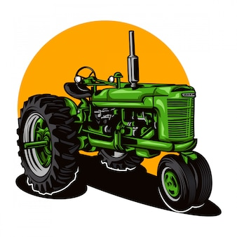 Farm tractor illustration on solid color