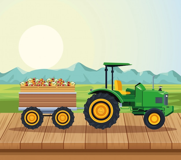 Farm tractor pushing fruits with cart