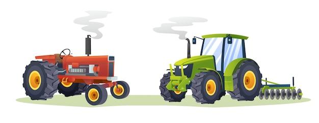 Коллекция сельскохозяйственных тракторов изолированных иллюстрация