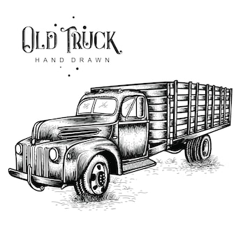 Farm truck hand drawn