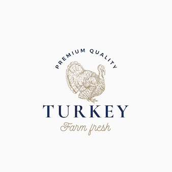 Farm turkey abstract  sign, symbol or logo template. hand drawn turkey sillhouette sketch with classy retro typography. vintage poultry emblem.