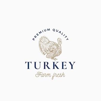 ファームトルコ抽象記号、記号またはロゴのテンプレート。上品なレトロなタイポグラフィと手描きトルコシルエットスケッチ。ヴィンテージ家禽エンブレム。