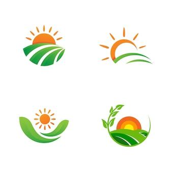 Ферма вектор сельского хозяйства органический значок иллюстрации