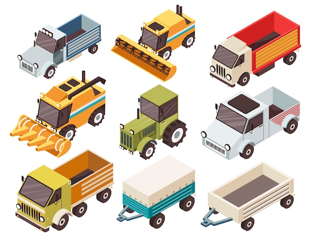 Farm vehicles isometric set
