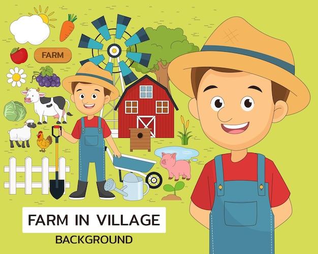 Farm in village illustration