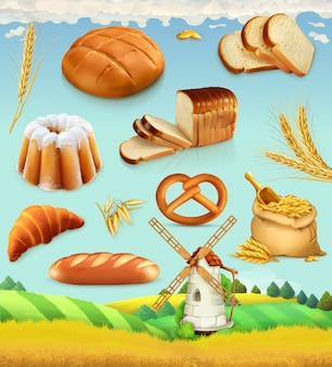 Farm. wheat and bread. food 3d  set