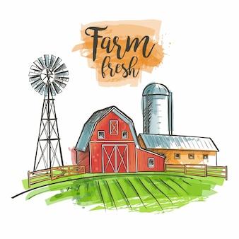 Farm windmill barn fence house field