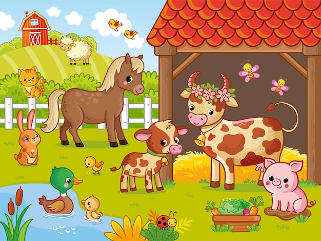 Farm with animals in cartoon style vector illustration with pets large set of animals and birds