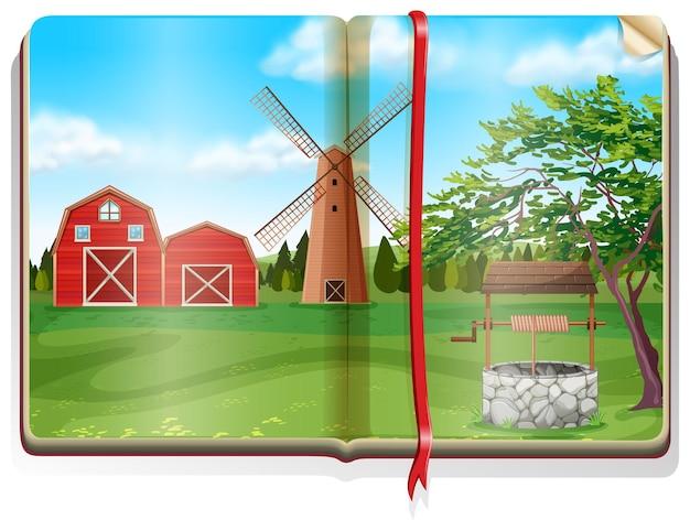 本に納屋と風車のある農場