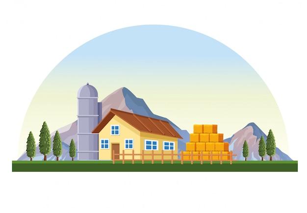 納屋の風景と農場