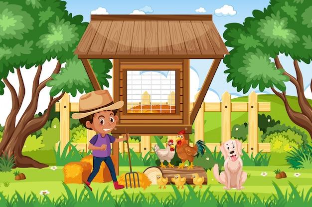 少年と多くの動物のいる農場