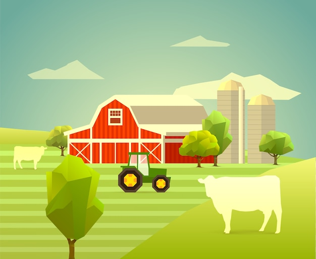 Farm with cows, trees and tractor. polygon illustration
