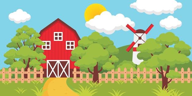 晴れた日に柵と製粉所のある農場