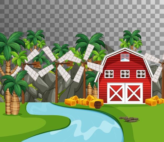 透明な赤い納屋と川沿いの農場