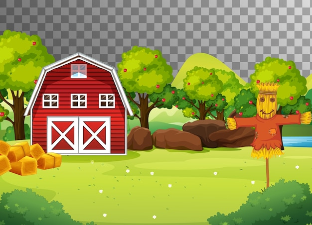 赤い納屋とかかしのある農場