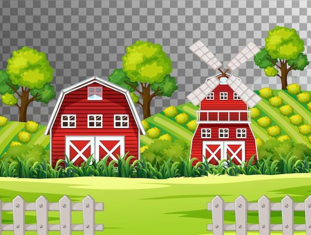 透明な背景に赤い納屋と風車のある農場