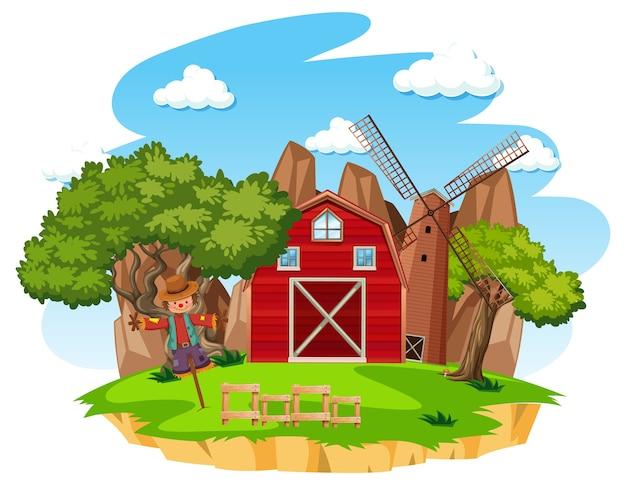白い背景の上の赤い納屋と風車のある農場