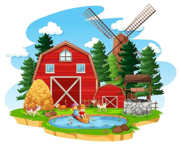 白い背景に赤い納屋と風車のある農場
