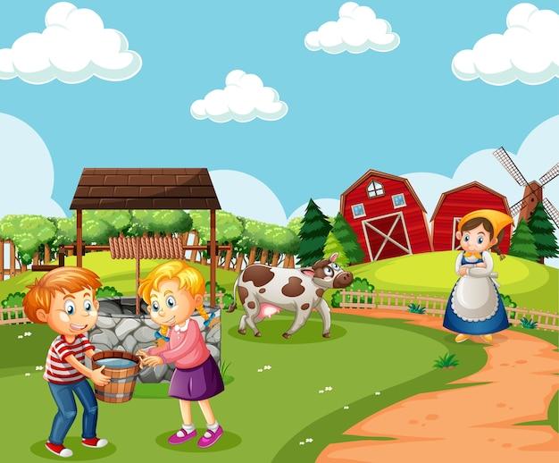Ферма с красным сараем и ветряной мельницей