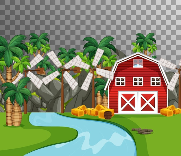 Farm with red barn and river side on transparent