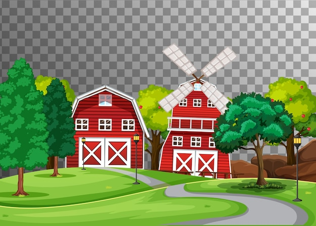 Farm with red barn and windmill on transparent background