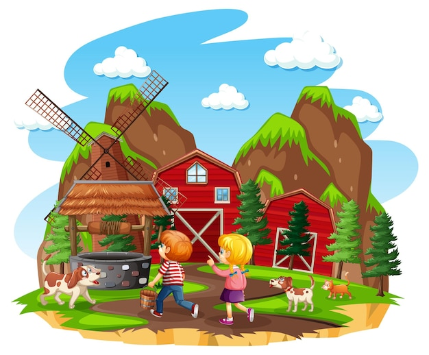 Farm with red barn and windmill on white background