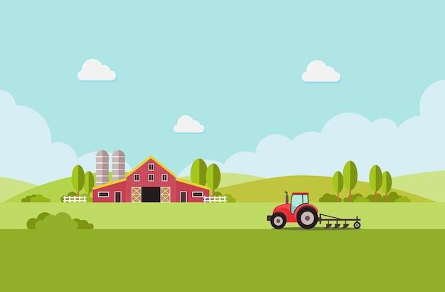 水タンクとトラクターを備えた農場