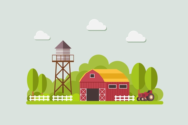 Farm with water tank and tractor