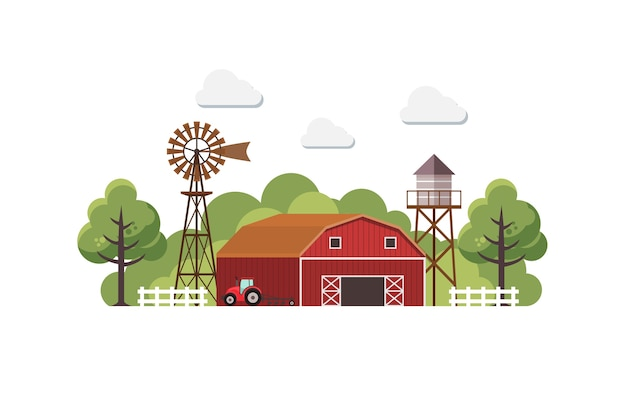 Farm with water tank and tractor.