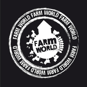 Farm world stamp isolated over black background vector