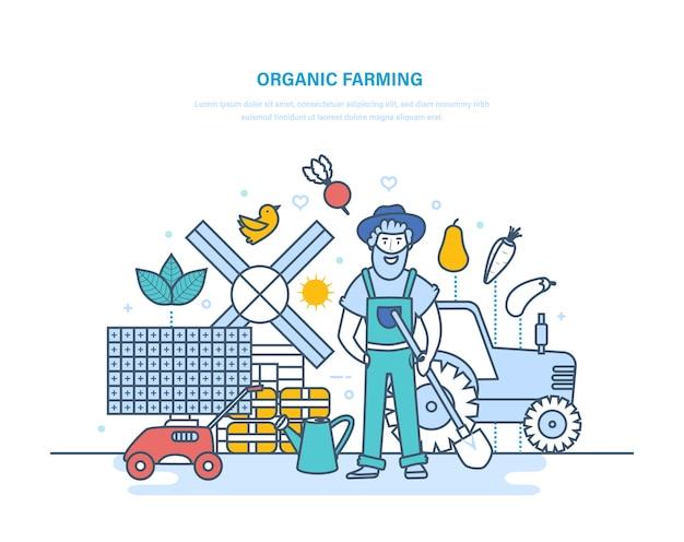 Farmer among plants and garden tools, production of food, eco farming,