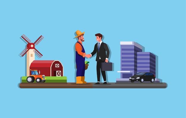 農家とビジネスマンが農場とオフィスビルの契約契約パートナーシップの間で握手を交わしている