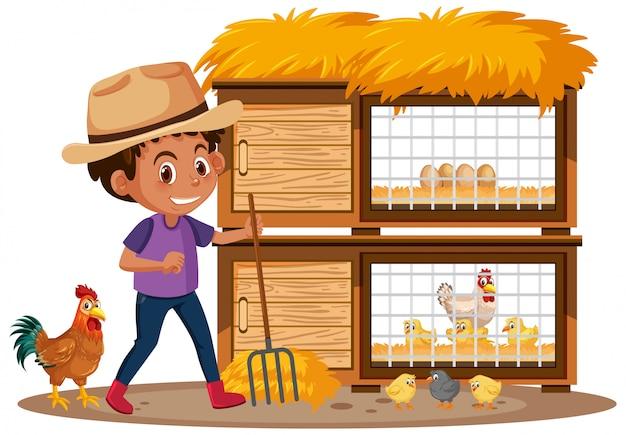 농부와 닭 흰색 배경