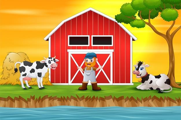 Фермер и ферма животных перед сараем