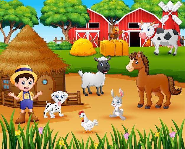 Фермер и ферма животных на ферме