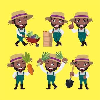 Фермер и садовник в разных позах