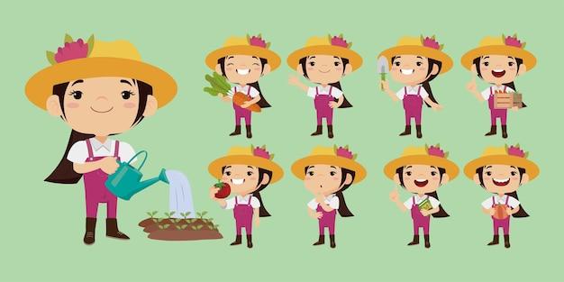 異なるポーズの農夫と庭師