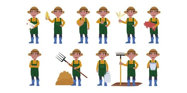 다른 포즈의 농부와 정원사