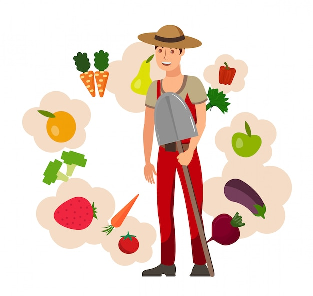 農家と収穫フラットベクトル図