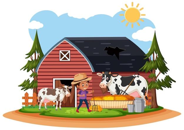 Фермер в старом сельском фермерском доме