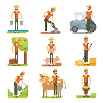 작업 벡터 평면 디자인에 농부 농업 isollated 세트.