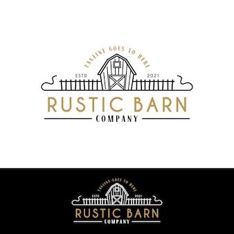 農場または牧場のロゴの柵と農家の納屋のロゴ