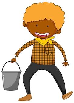 Un personaggio dei cartoni animati del ragazzo contadino isolato