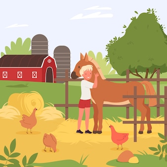 Farmer boy character hugging cute horse agriculture scene of kids summer holidays at village farm