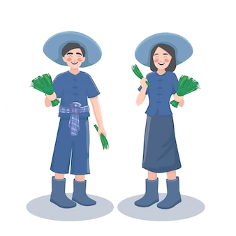 Farmer boy girl. Premium Vector